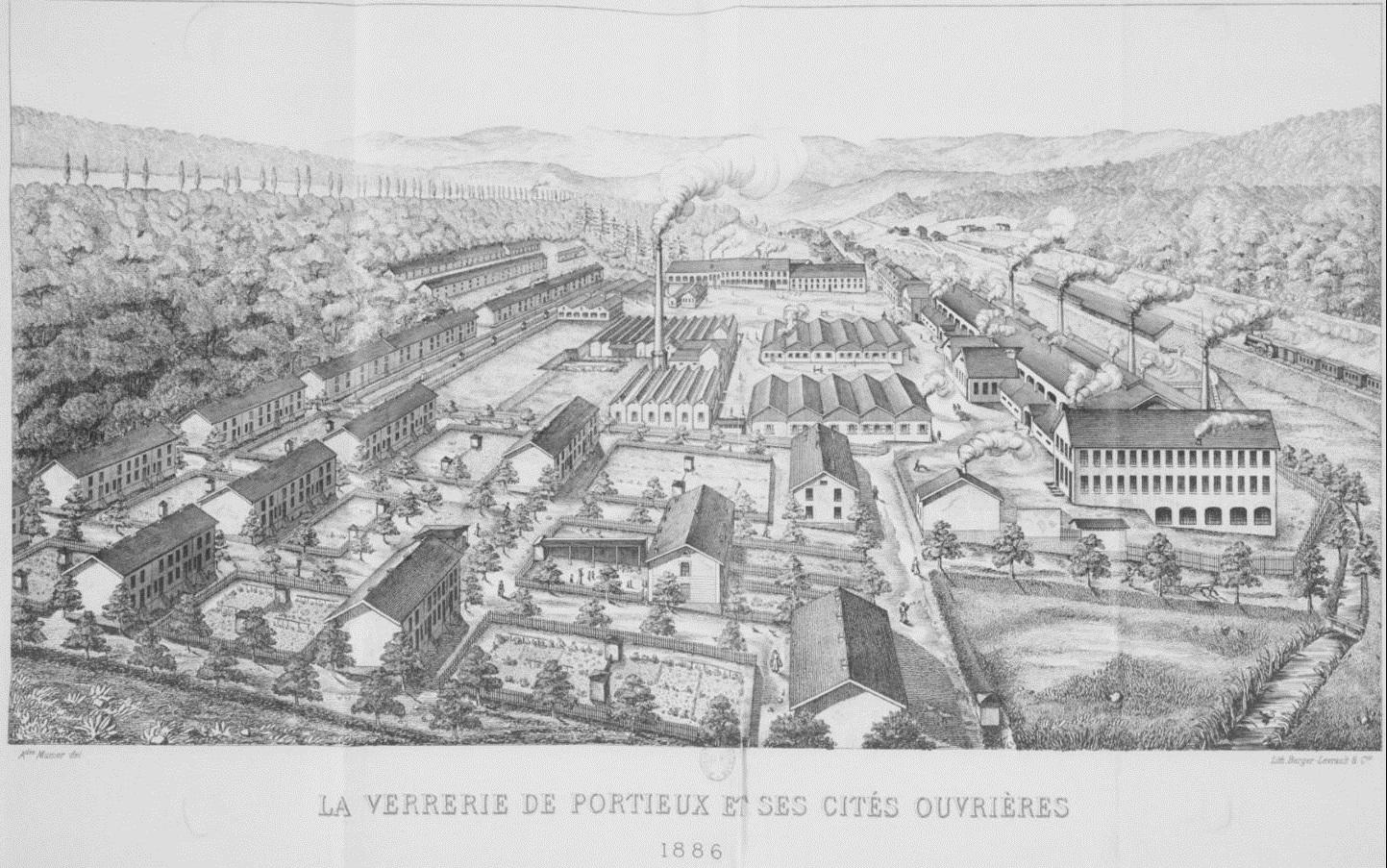 Croquis verrerie de Portieux en 1886